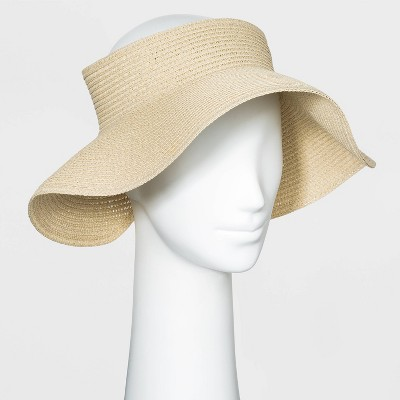 Women's Straw Visor Hat - A New Day™ Tan One Size