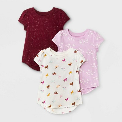 Toddler Girls' 3pk Unicorn Heart Sparkle Short Sleeve T-Shirt - Cat & Jack™ Purple/Burgundy/Cream