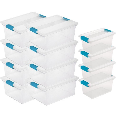 Sterilite Deep Clip Storage Box Container 8 Pack Medium Clip Box