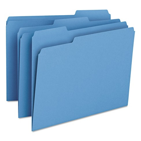 Smead® File Folders, 1/3 Cut Top Tab, Letter, Blue, 100/Box - image 1 of 10