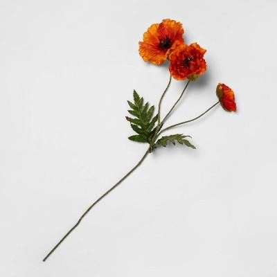 "28"" Artificial Poppy Stem Orange/Green - Threshold™"