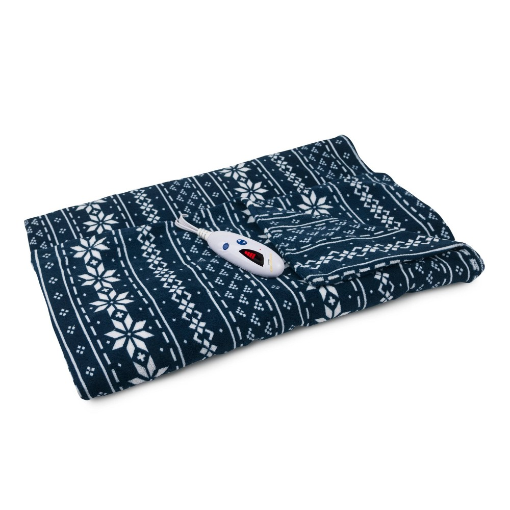 "Image of ""62"""" x 50"""" Microplush Electric Throw Blanket Navy - Biddeford Blankets"""