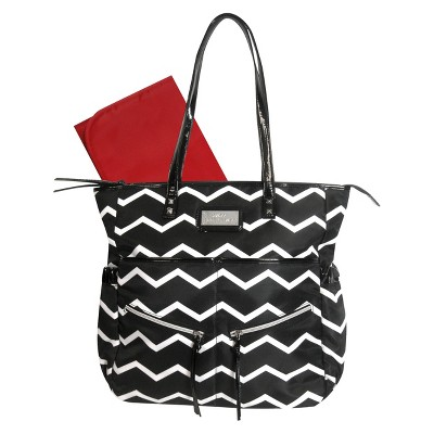 Baby Essentials Striped Diaper Bag Tote - Black and White