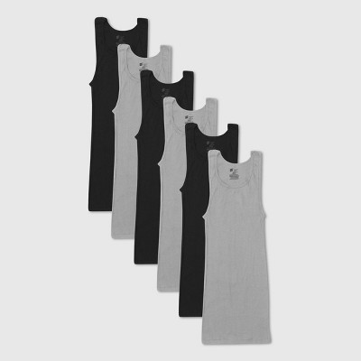Hanes Men's 6pk Red Label Tank Top Dyed A-Shirt - Gray/Black