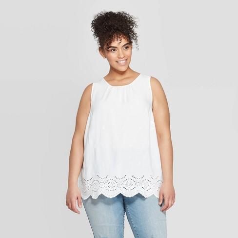 Women\'s Plus Size Crewneck Eyelet Tank Top - Ava & Viv™ White 4X