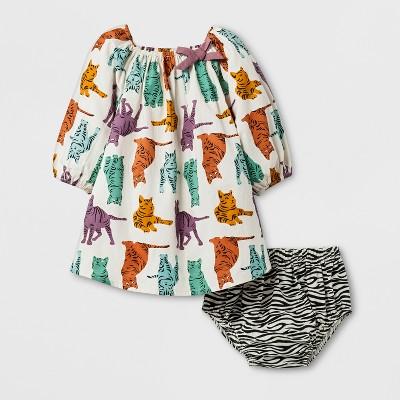 Happy by Pink Chicken Toddler Girls' Zebra Kitty 2pc Dress Set - 3-6M
