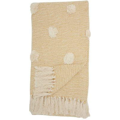 Dot Woven Throw Blanket Mustard - Mina Victory