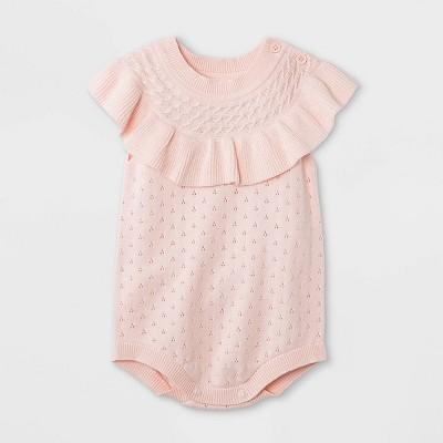 Baby Girls' Pointelle Sleeveless Sweater Romper - Cat & Jack™ Light Pink 0-3M