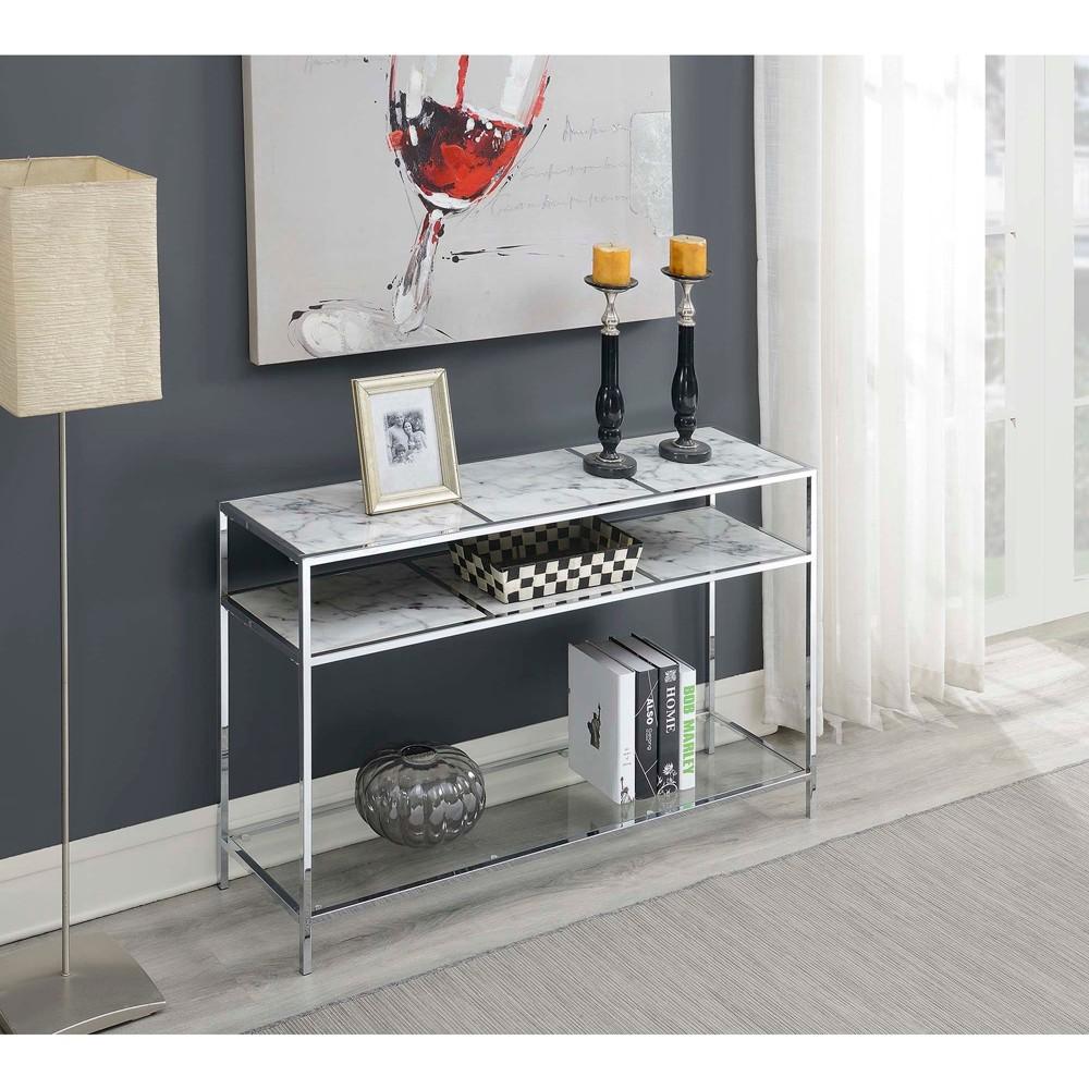 Gold Coast Carrara Console Table Faux Marble White - Johar Furniture