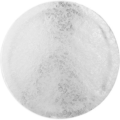 """Juvale 9.6"""" Silver Foil Round Cake Boards, Disposable Cake Drum Circles Base"""