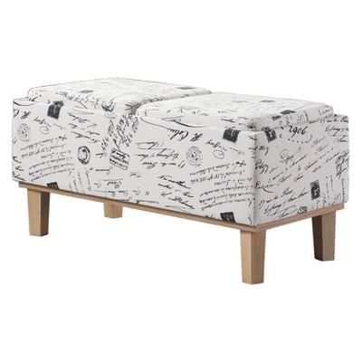 Storage Bench Wood Legs-Ore International