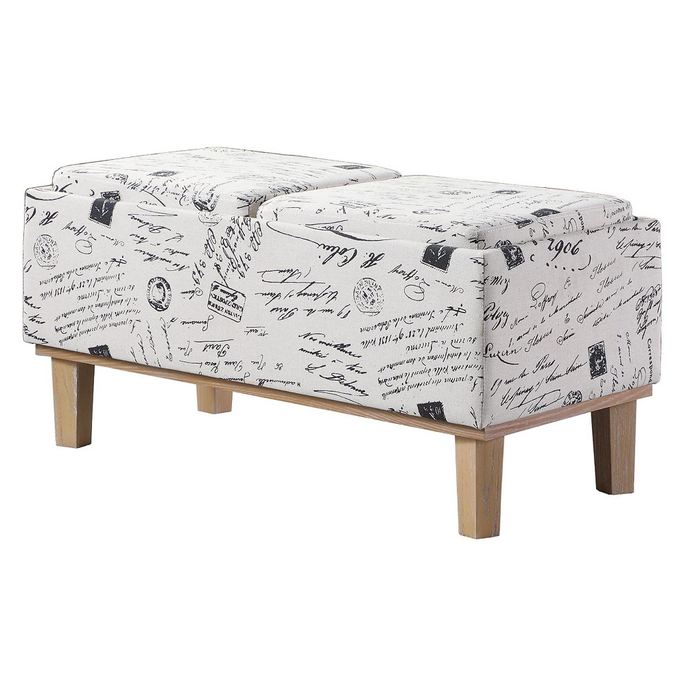 Image of Storage Bench With Wood Legs - Old World White - Ore International