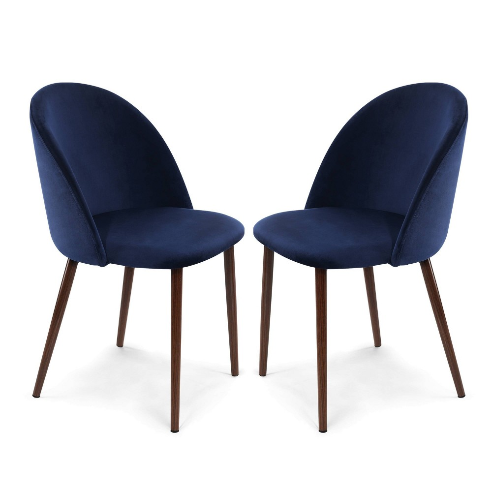 Set of 2 Raleigh Velvet Dining Chair Space Blue/Walnut - Poly & Bark Price