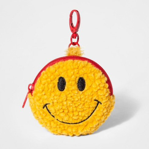Girls' Sherpa Smiley Zipper Coin Purse - Cat & Jack™ Yellow - image 1 of 1