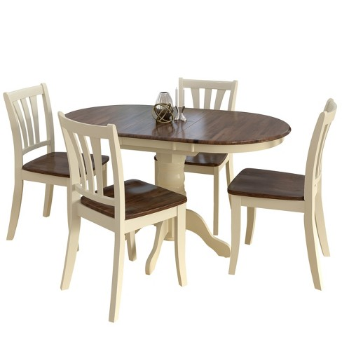 Corliving Dining Table Set Brown Cream