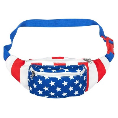 Juvale USA Fanny Pack - American Flag Fanny Pack, Patriotic Waist Bag for Vacations, Special Events, Daily Use - 15 x 4.5 x 3 Inches