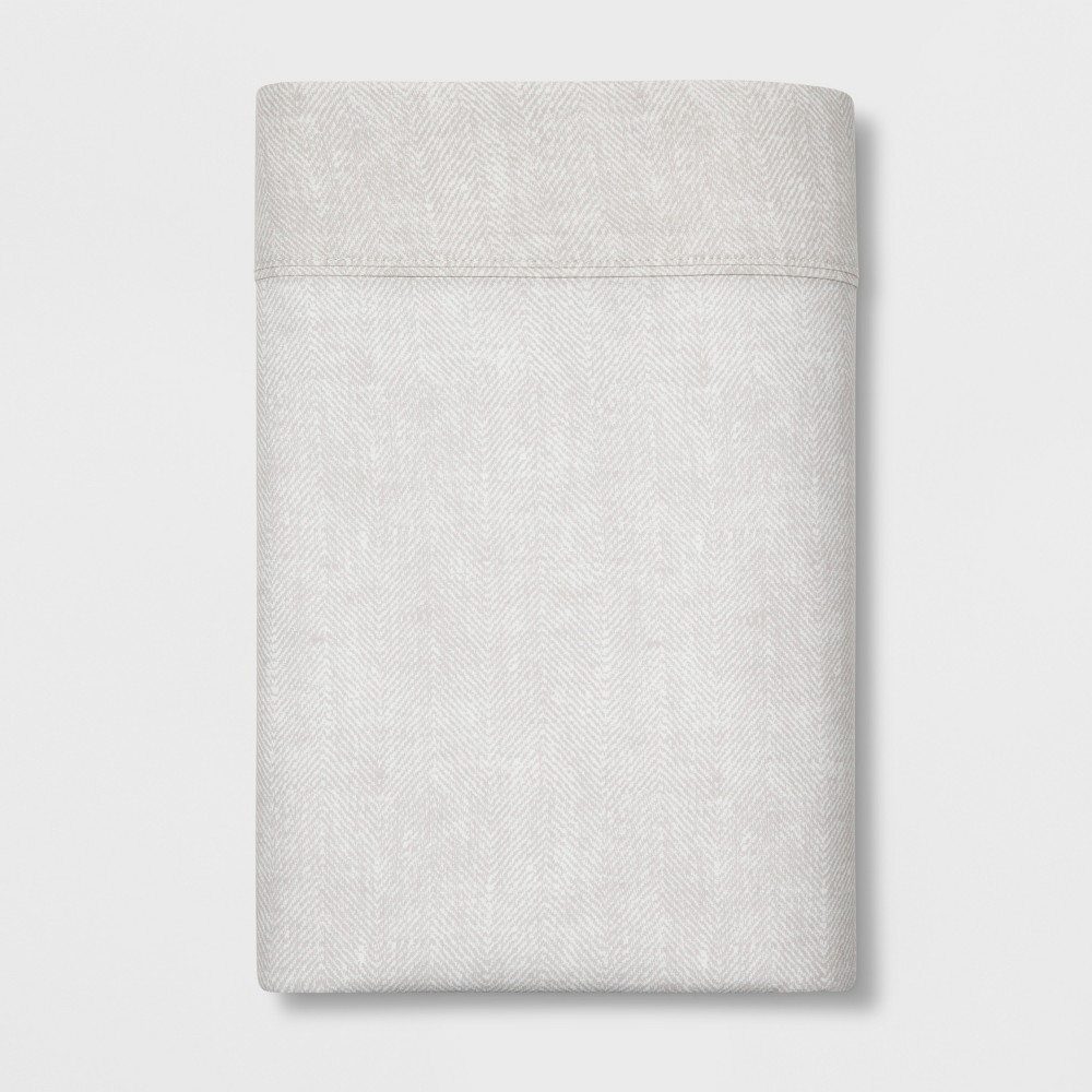 Image of Full 300 Thread Count Herringbone Ultra Soft Flat Sheet Tan - Threshold