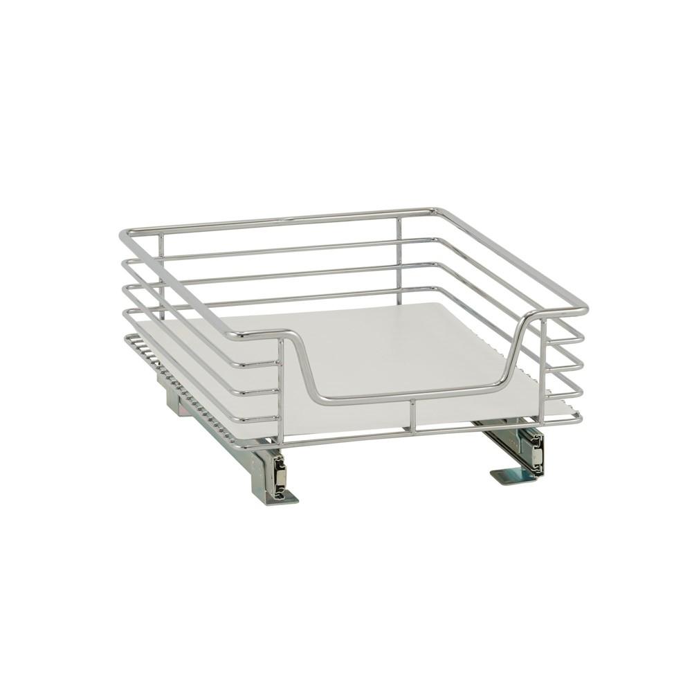 Design Trend 1-Tier Single Basket Sliding Under - Cabinet Organizer 14.5 Standard Depth Chrome (Grey)