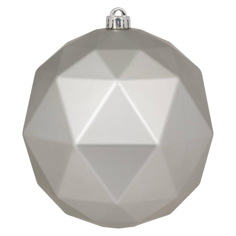 "Vickerman 8"" Limestone Matte Geometric Ball Ornament, Green"