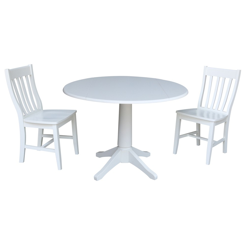 42 Round Top Drop Leaf Table with 2 Chairs White - International Concepts