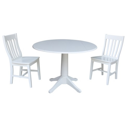 42 Round Top Drop Leaf Table With 2 Chairs White International Concepts Target