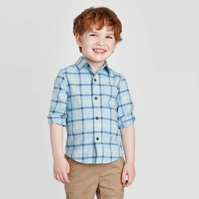 Toddler Boys' Long Sleeve Plaid Button-Down Shirt - Cat & Jack™ Blue 18M