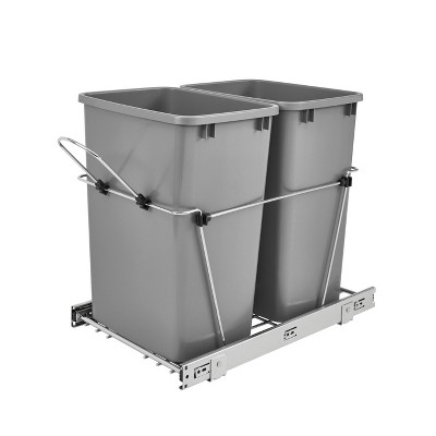 Rev-A-Shelf RV-18KD-17C S Double 35 Quart Sliding Pull-Out Waste Containers Garbage Trash Recycling Bins for Kitchen Cabinets, Gray