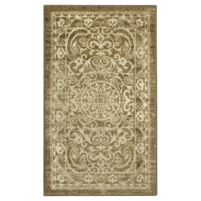 Khaki Scroll Tufted Accent Rug 2'6 X3'10  - Maples