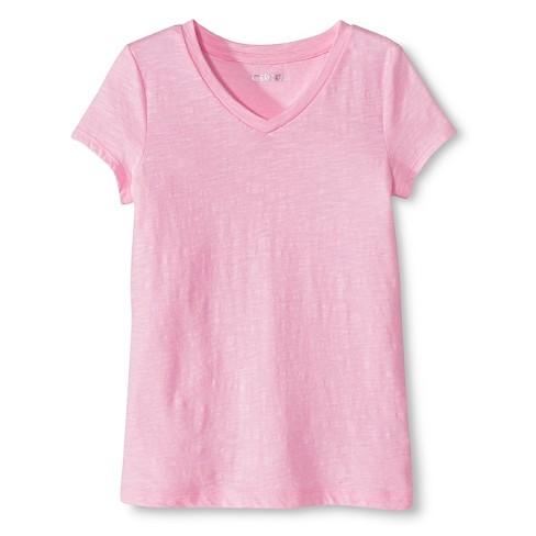 e978678b Girls' Solid V-Neck T-Shirt Rosado Pink M - Cherokee™ : Target