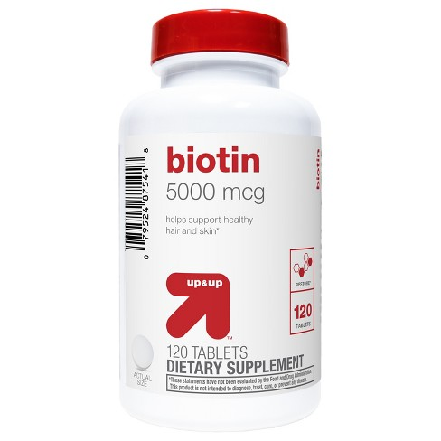 Biotin Dietary Supplement Tablets - 120ct - Up&Up™ - image 1 of 2