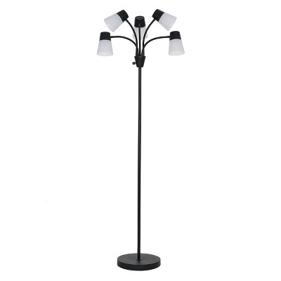 LED Adjustable 5-Head Floor Lamp Black/White (Includes Energy Efficient Light Bulb)- Room Essentials™