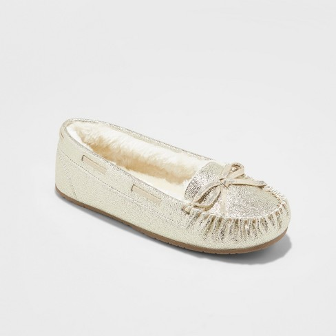 Girls' Cadi Metallic Gold Moccasin Slipper - Cat & Jack™ Gold L(4/5) - image 1 of 4