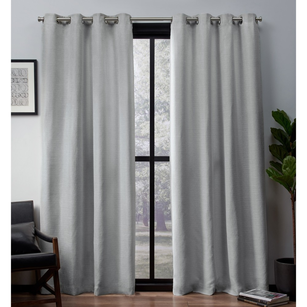 Leeds Woven Blackout curtain panels Dove Grey 52x84 - Exclusive Home, Gray