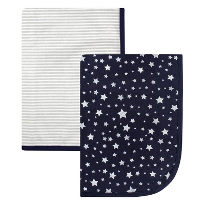Hudson Baby Infant Boy Cotton Swaddle Blankets, Silver Star, One Size