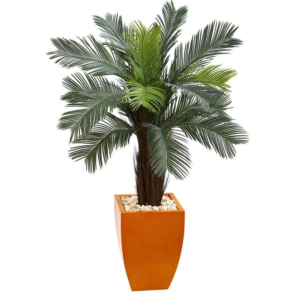Image of 4.5ft Cycas Artificial Tree In Orange Planter - Nearly Natural