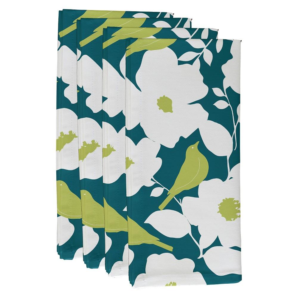 """Image of """"Teal Olive Modfloral Floral Print Napkin Set (19""""""""X19"""""""") - E By Design, Blue Green"""""""