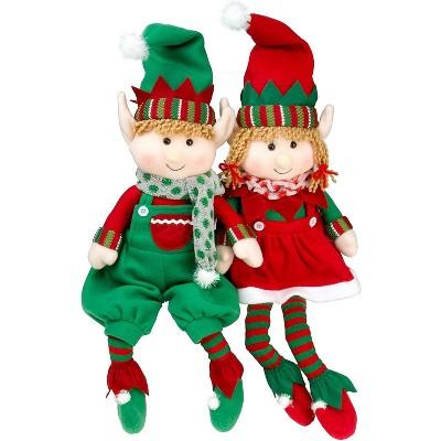 "SCS Direct Elf Plush Christmas Stuffed Dolls - 12"", Set of 2"