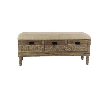 Carved Wood and Upholstered Storage Bench with Drawers Brown - Olivia & May
