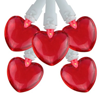 Northlight 20 Red LED Mini Heart Valentine's Day Lights - 4.75 ft White Wire