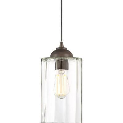 "Possini Euro Design Bronze Mini Pendant Light 5 1/4"" Wide Modern Clear Glass LED Fixture for Kitchen Island Dining Room"