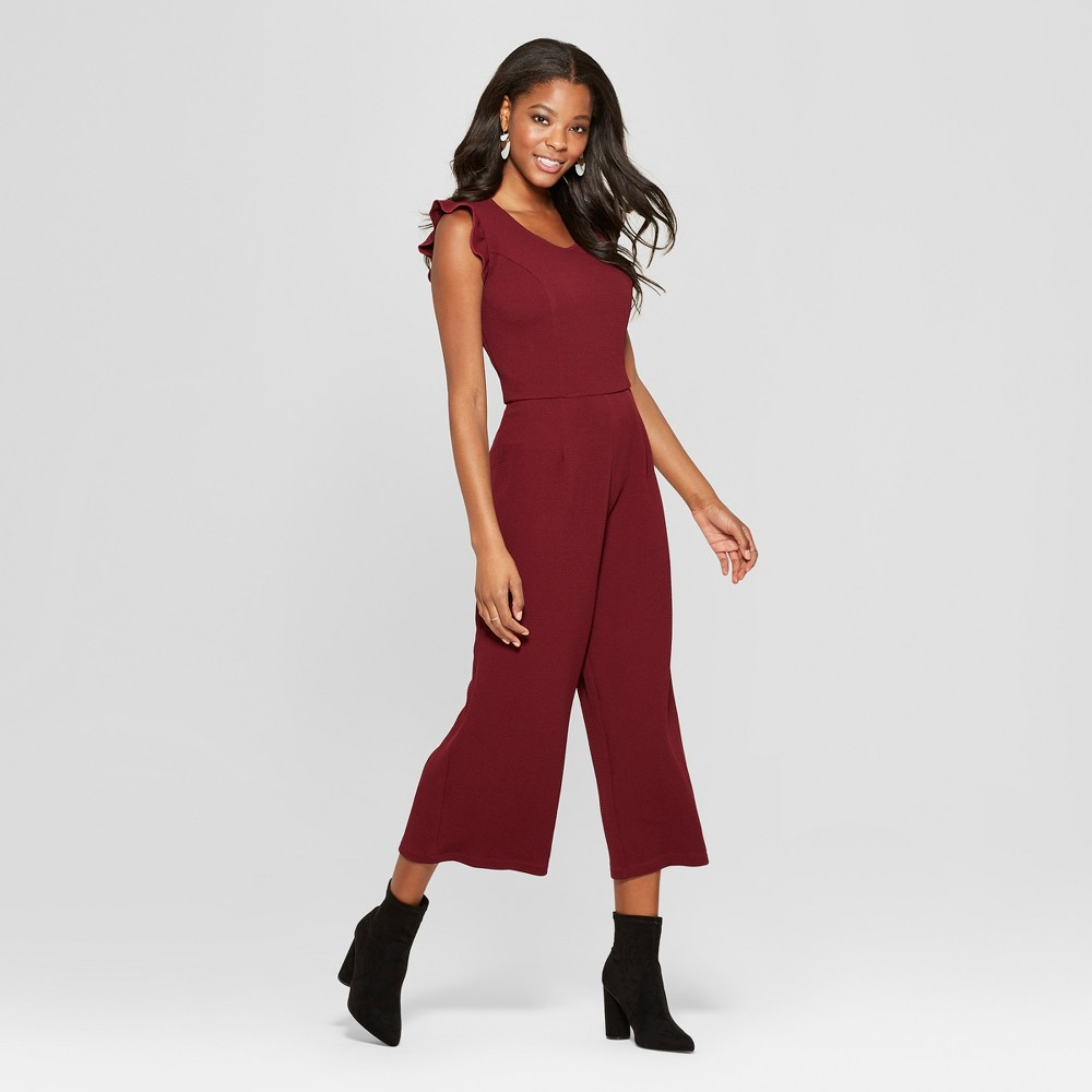Women's Flutter Sleeve Knit Cropped Jumpsuit - Xhilaration Burgundy (Red) Passion XS