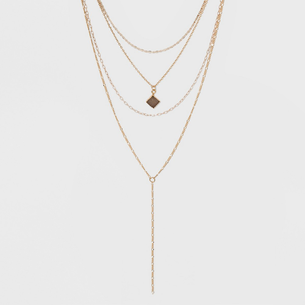 Multi Row Layered with Stone Charm Necklace - Gold