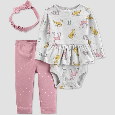 Baby Girls' 3pc Woodland Top and Bottom Set - Just One You® made by carter's Pink/Gray Newborn