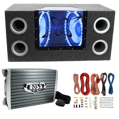 "Pyramid BNPS122 12"" 1200W Car Audio Subwoofer w/ Box, 1500W Mono Amp, & Amp Kit"