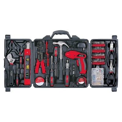 Apollo 161 Pc. Household Tool Kit with 4.8 Volt Rechargeable Cordless Screwdriver - Red