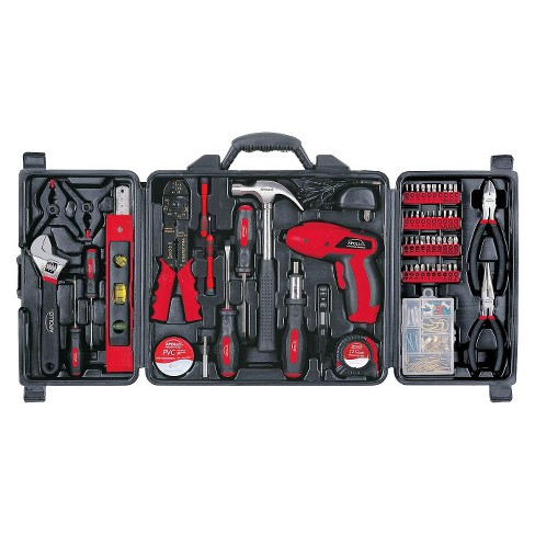 Apollo 161 Pc. Household Tool Kit with 4.8 Volt Rechargeable Cordless Screwdriver - Red - image 1 of 4