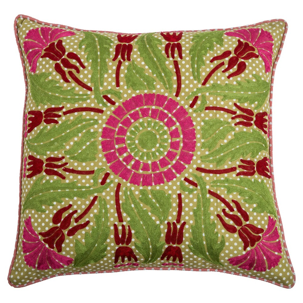 Lime/Pink (Green/Pink) Printed Cotton With Embroidery Throw Pillow - Rizzy Home