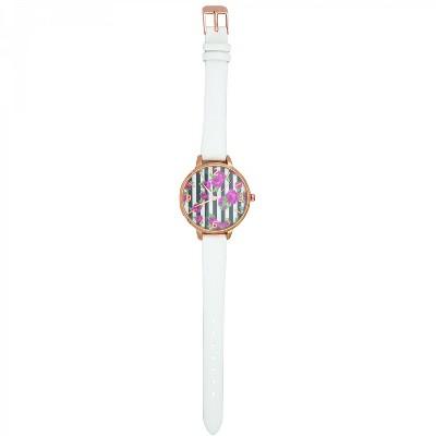 Olivia Pratt Leather Rose Face Strap Fashion Watch -White