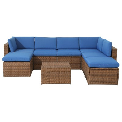 8pc Wicker Rattan Patio Sofa Set with Blue Cushions - Accent Furniture