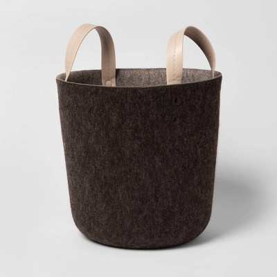Small Decorative Felt Basket with Leather Handles 10.6 x11  - Project 62™